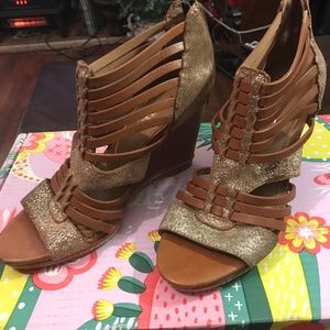 New Authentic  Trask Sammi Leather Wedge Sandals